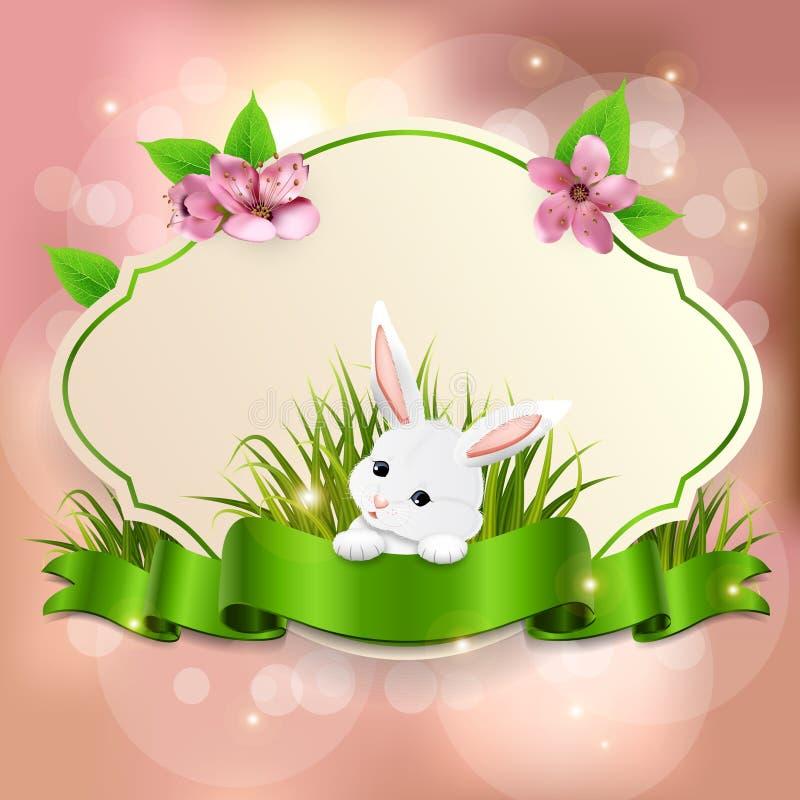 Bandera de Pascua de la primavera con el conejito adorable Vector stock de ilustración