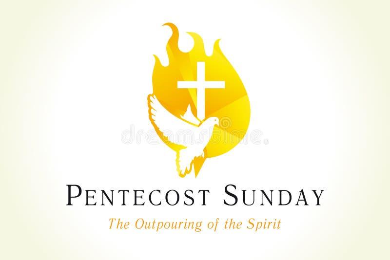 Bandera de Pentecostés domingo con la paloma y cruz en llama ilustración del vector