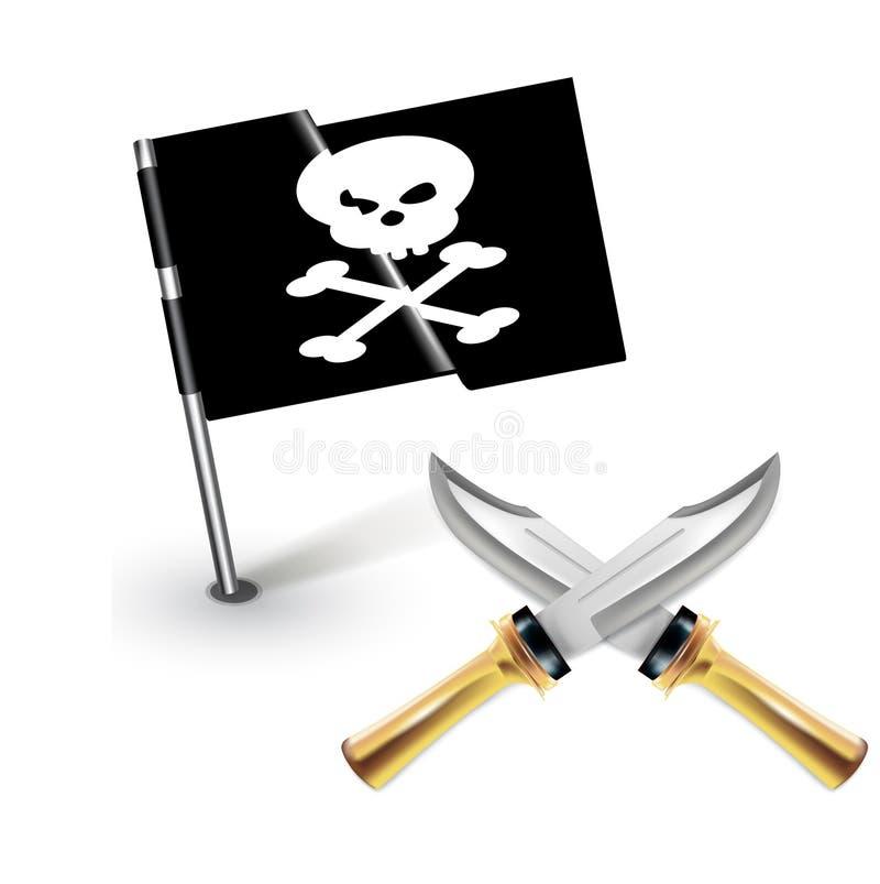 Download Bandera De Pirata Con Los Cuchillos Cruzados Aislados Ilustración del Vector - Ilustración de naturalizado, alegre: 42439295
