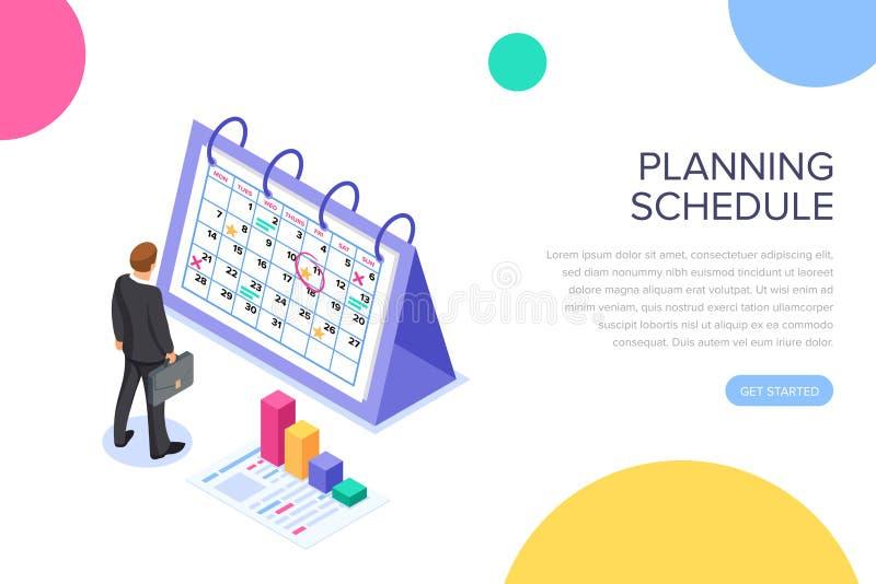 Bandera de planificación del concepto del horario con los caracteres Ejemplo isométrico plano del vector aislado en el fondo blan stock de ilustración