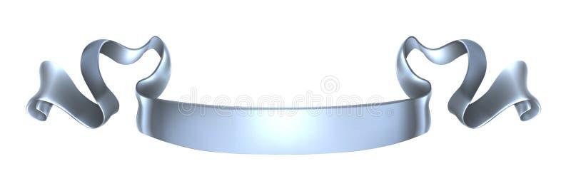 Bandera de plata de la voluta ilustración del vector