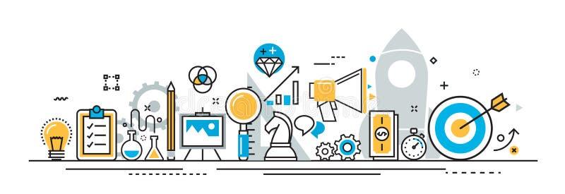Bandera de proceso de lanzamiento del proyecto del negocio para el sitio web de aterrizaje de la página stock de ilustración