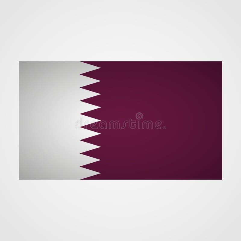 Bandera de Qatar en un fondo gris Ilustración del vector ilustración del vector
