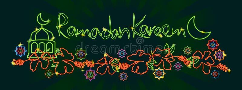 Bandera de Ramadan Kareem del hibisco de Malasia ilustración del vector