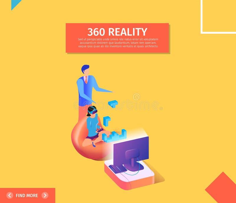 Bandera de 360 realidades Mujer en jugar de los vidrios de VR stock de ilustración
