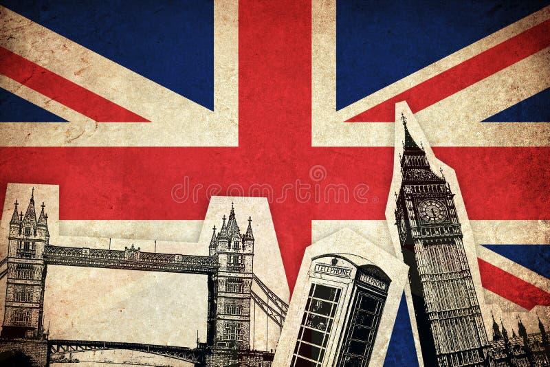 Bandera de Reino Unido con los monumentos stock de ilustración