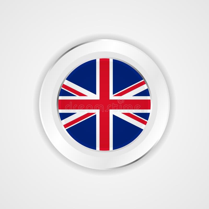 Bandera de Reino Unido en icono brillante stock de ilustración