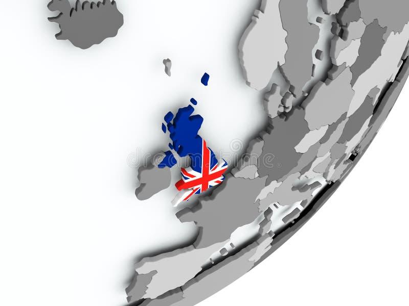 Bandera de Reino Unido en mapa stock de ilustración