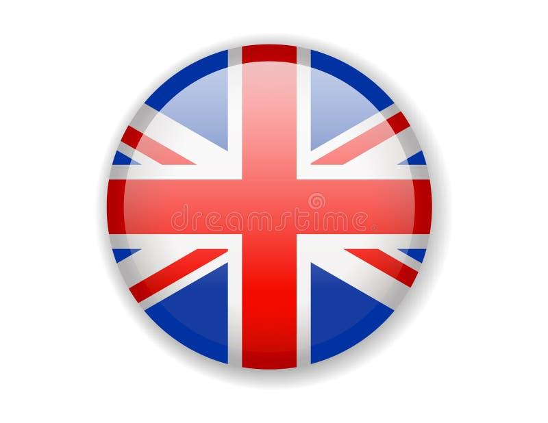 Bandera de Reino Unido Icono brillante redondo en un fondo blanco stock de ilustración