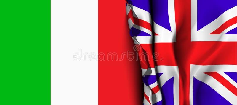 Bandera de Reino Unido sobre la bandera de Italia ilustración del vector