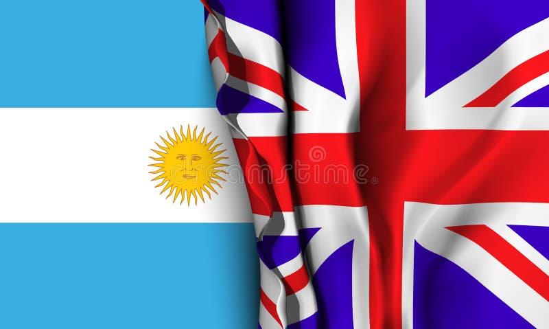 Bandera de Reino Unido sobre la bandera de la Argentina ilustración del vector