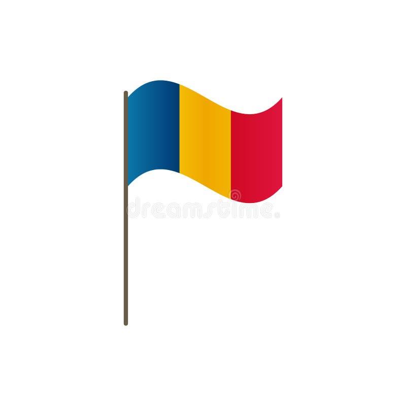 Bandera de Rumania en la asta de bandera Colores y proporción oficiales correctamente El agitar de la bandera de Rumania en asta  stock de ilustración