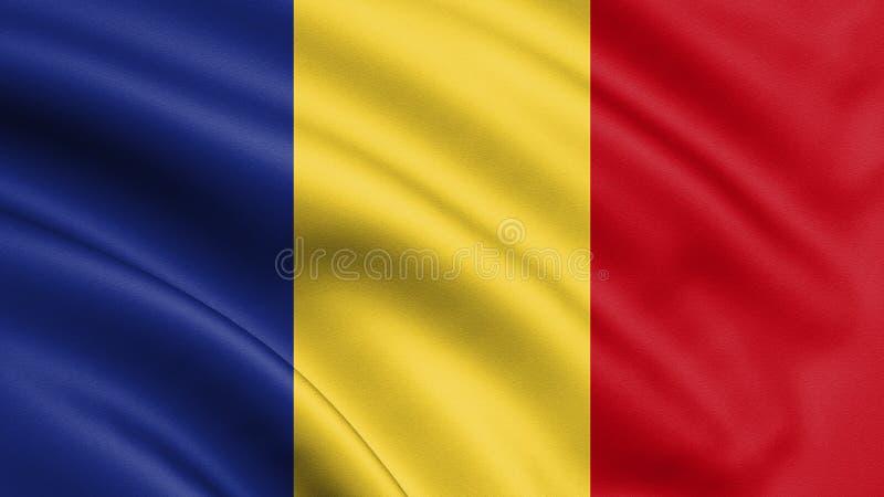 Bandera de Rumania que sopla en el viento Textura del fondo Bucarest, Rumania 3d representación, onda A mano ilustración del vector