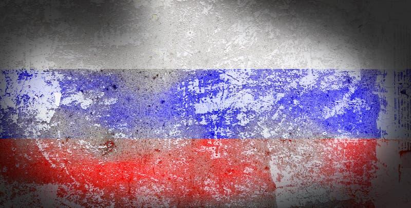 Bandera de Rusia del Grunge en el fondo de piedra de la textura stock de ilustración