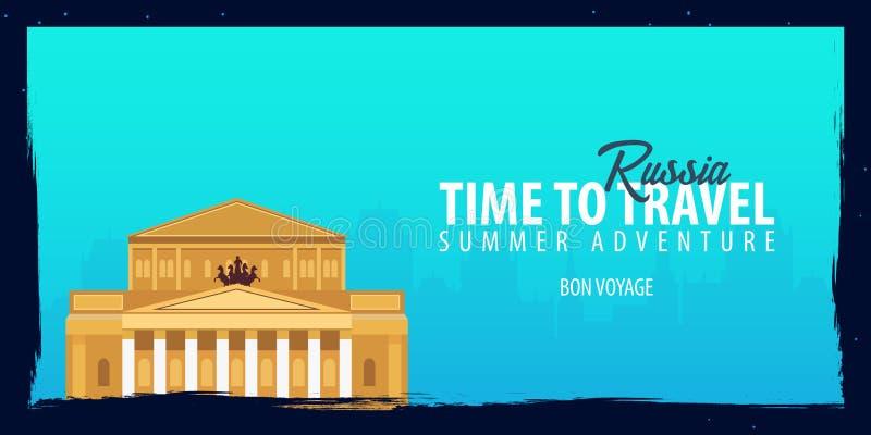 Bandera de Rusia Hora de viajar Viaje, viaje y vacaciones Ejemplo plano del vector libre illustration