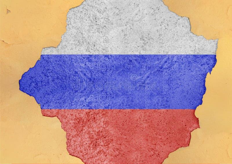 Bandera de Rusia pintada en el agujero concreto y la fachada agrietada de la pared stock de ilustración