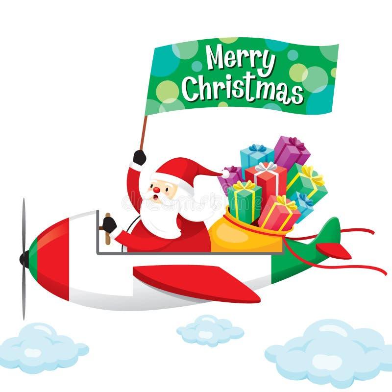 Bandera de Santa Claus With Gift Boxes And feliz en el aeroplano libre illustration
