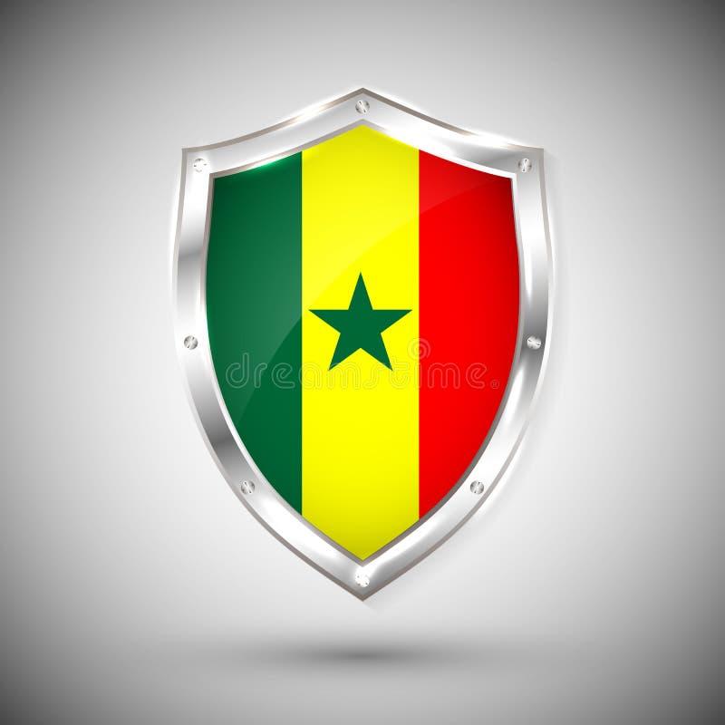 Bandera de Senegal en el ejemplo brillante del vector del escudo del metal Colección de banderas en el escudo contra el fondo bla stock de ilustración