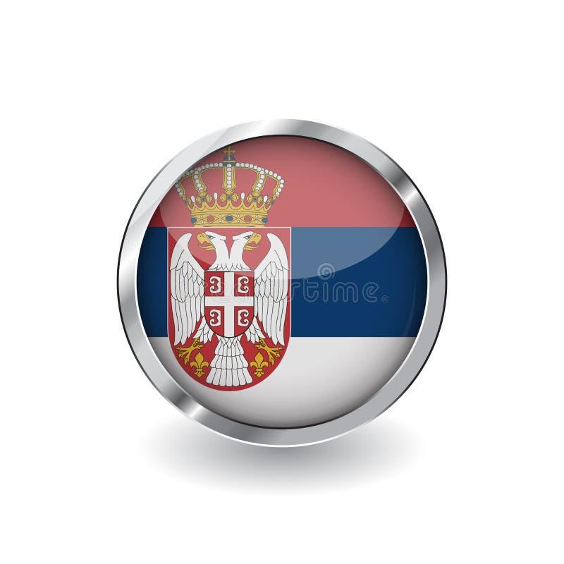 Bandera de Serbia, botón con el marco metálico y la sombra icono del vector de la bandera de Serbia, insignia con efecto brillant ilustración del vector