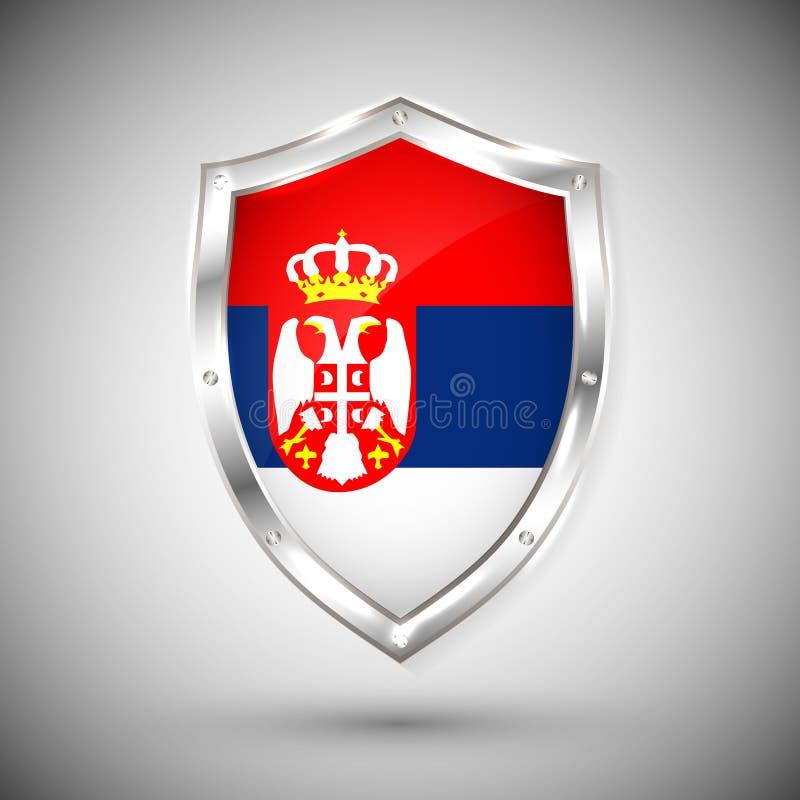 Bandera de Serbia en el ejemplo brillante del vector del escudo del metal Colección de banderas en el escudo contra el fondo blan stock de ilustración