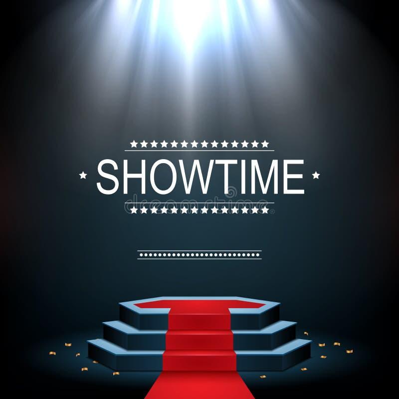 Bandera de Showtime con el podio y la alfombra roja iluminados por los proyectores libre illustration