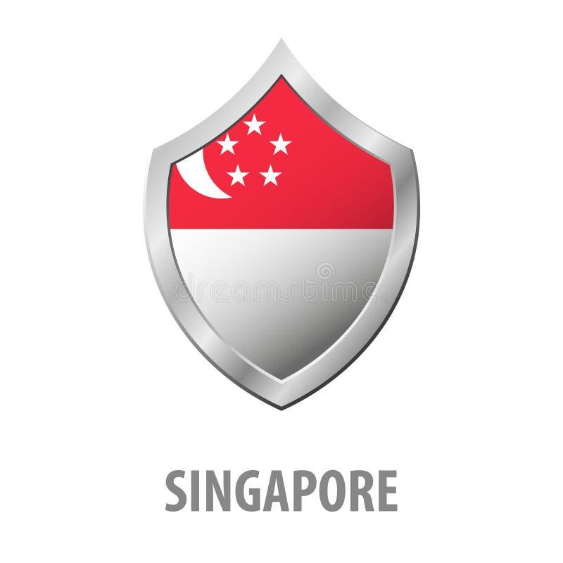 Bandera de Singapur en el ejemplo brillante del escudo del metal ilustración del vector