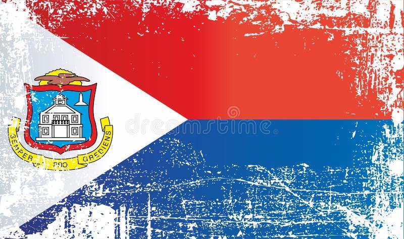 Bandera de Sint Maarten, Países Bajos Puntos sucios arrugados ilustración del vector