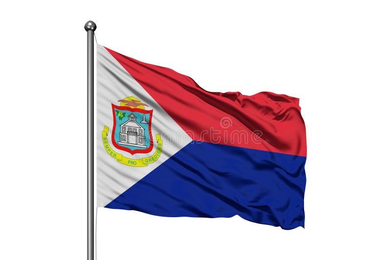 Bandera de Sint Maarten que agita en el viento, fondo blanco aislado imagenes de archivo