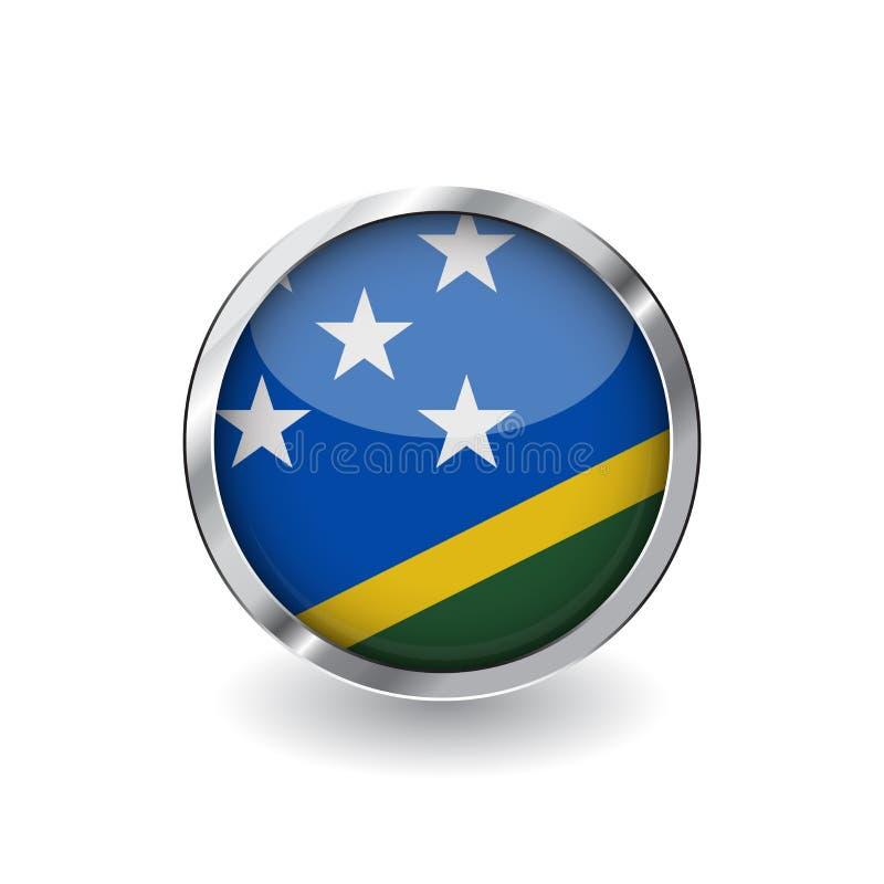 Bandera de Solomon Island, botón con el marco metálico y la sombra icono del vector de la bandera de Solomon Island, insignia con ilustración del vector