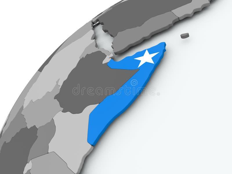 Bandera de Somalia en el globo gris ilustración del vector