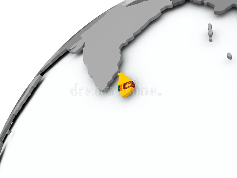 Bandera de Sri Lanka en el globo gris ilustración del vector