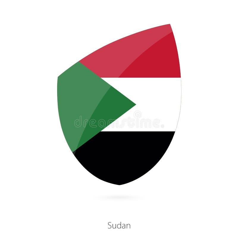 Bandera de Sudán Bandera del rugbi de Sudanian ilustración del vector