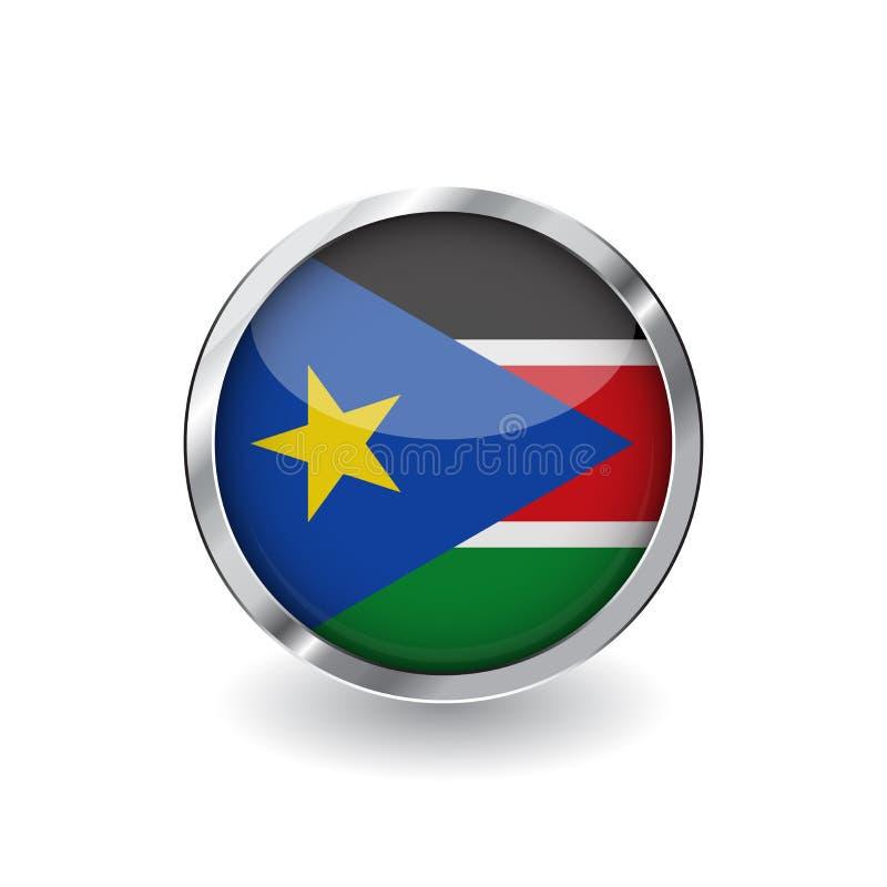 Bandera de Sudán del sur, botón con el marco metálico y la sombra icono del sur del vector de la bandera de Sudán, insignia con e libre illustration