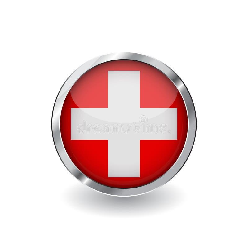 Bandera de Suiza, botón con el marco metálico y la sombra icono del vector de la bandera de Suiza, insignia con efecto brillante  ilustración del vector