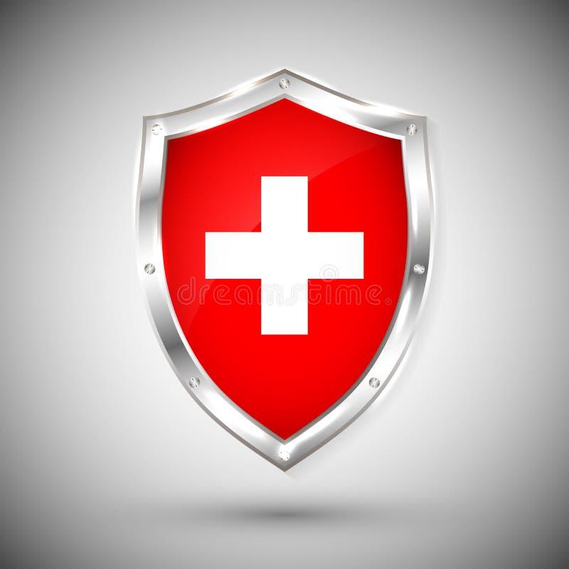 Bandera de Suiza en el ejemplo brillante del vector del escudo del metal Colección de banderas en el escudo contra el fondo blanc libre illustration