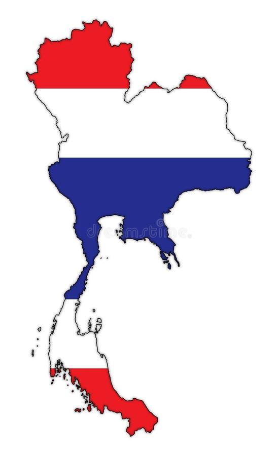 Bandera de Tailandia en mapa stock de ilustración