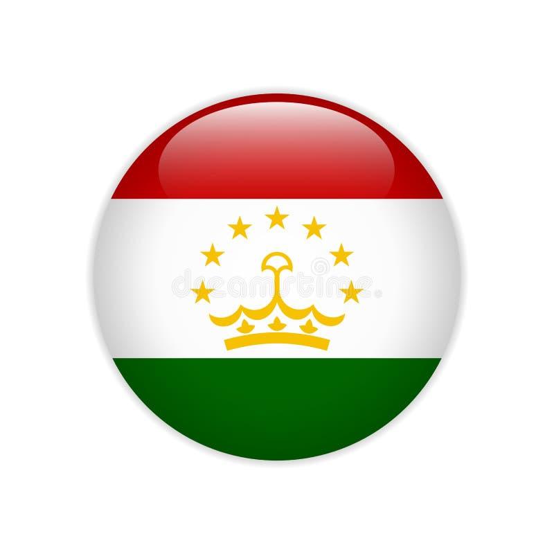 Bandera de Tayikistán en el botón ilustración del vector