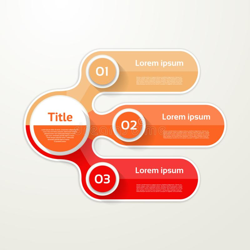 Bandera de tres elementos 3 pasos diseñan, trazan, infographic, paso ilustración del vector