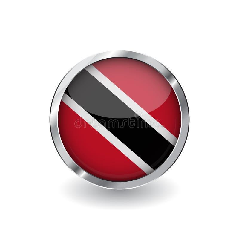 Bandera de Trinidad and Tobago, botón con el marco metálico y la sombra icono del vector de la bandera de Trinidad and Tobago, in libre illustration