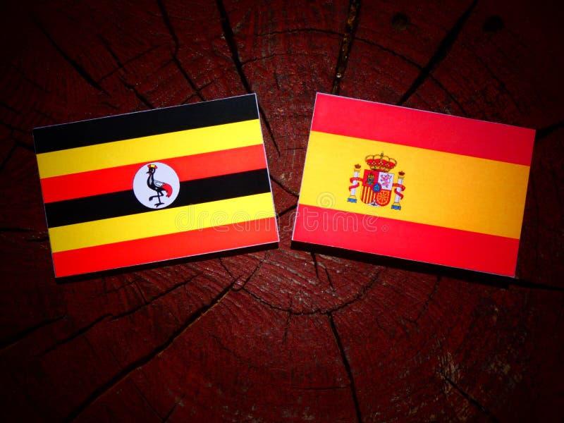 Bandera de Uganda con la bandera española en un tocón de árbol imagenes de archivo