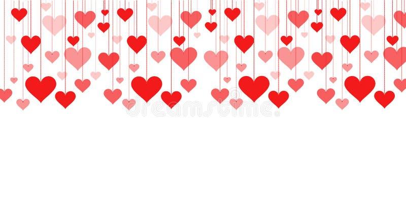 Bandera de una guirnalda del día de tarjeta del día de San Valentín del fondo de los corazones, casandose ilustración del vector