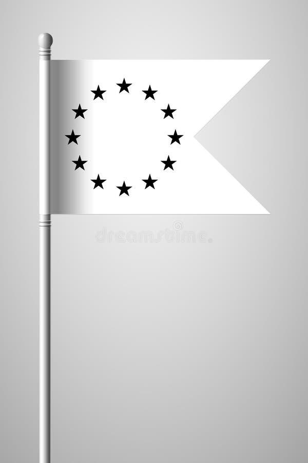 Bandera de unión europea blanco y negro de la versión Bandera nacional en la Florida stock de ilustración
