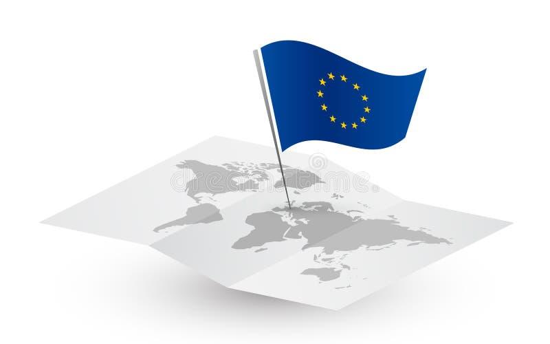 Bandera de unión europea en mapa del mundo abstracto libre illustration