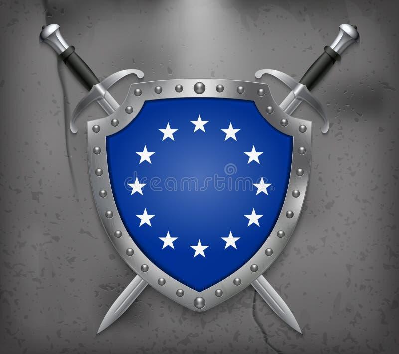 Bandera de unión europea monocromática de la versión El escudo con nacional libre illustration