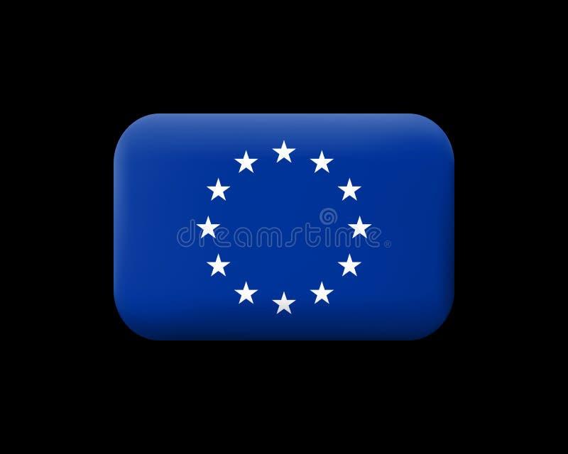 Bandera de unión europea monocromática de la versión Icono enmarañado del vector y B libre illustration