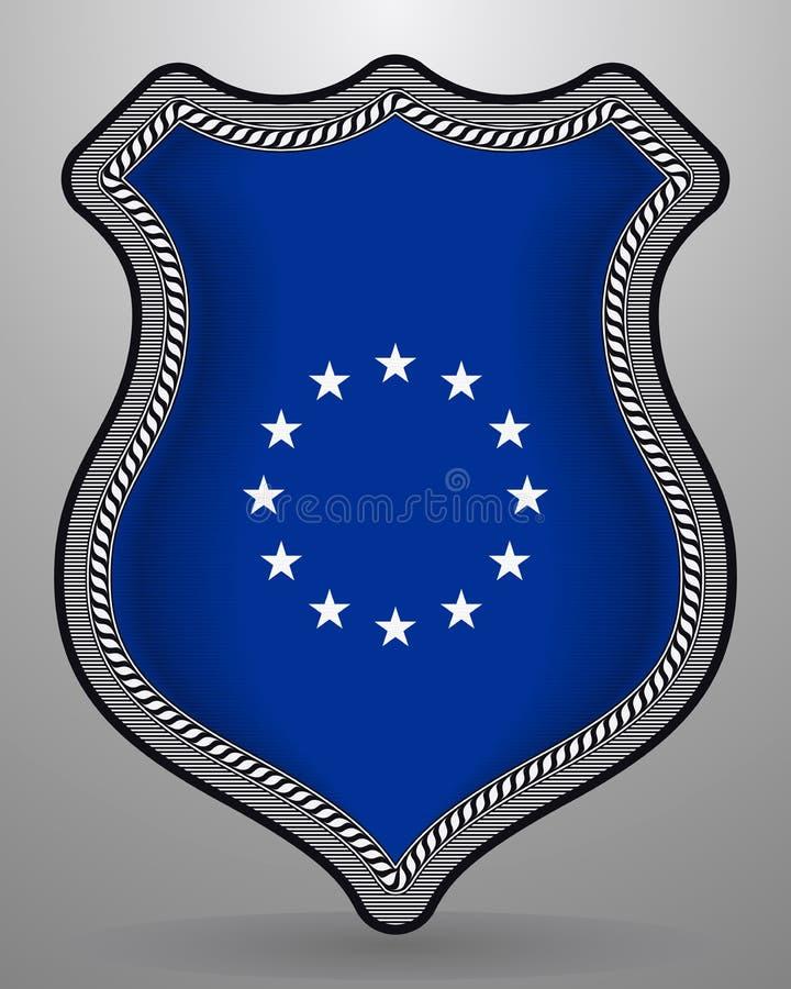 Bandera de unión europea monocromática de la versión Insignia e icono del vector libre illustration