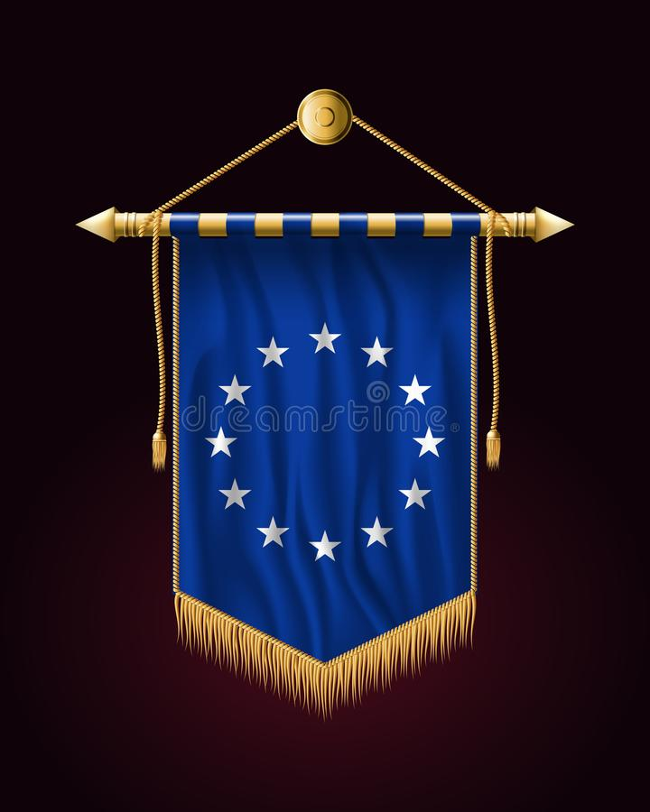 Bandera de unión europea monocromática de la versión Bandera vertical festiva stock de ilustración