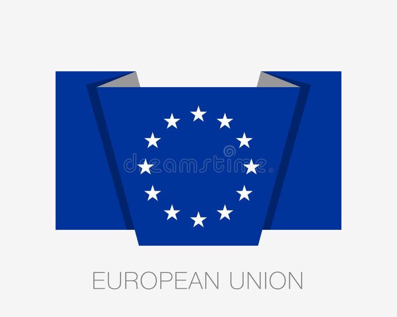 Bandera de unión europea monocromática de la versión Wi de la bandera del icono que agitan plano stock de ilustración