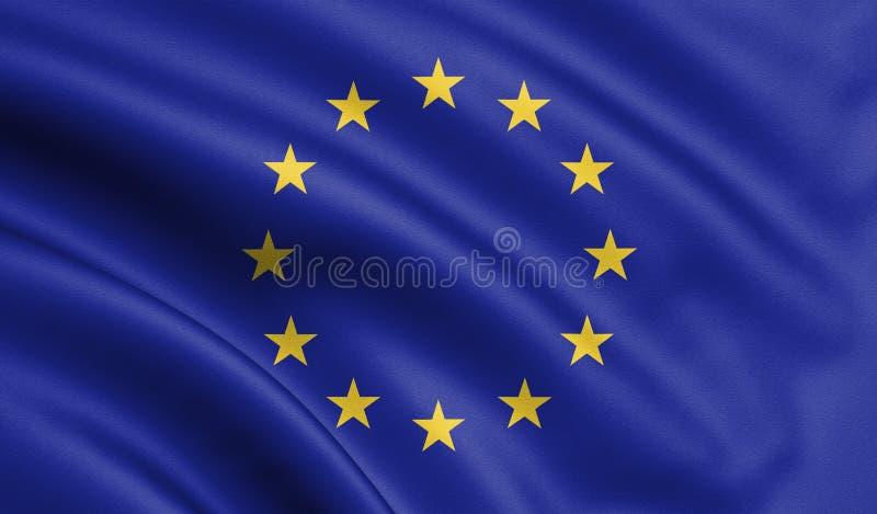 Bandera de unión europea que agita, bandera de la UE en el ejemplo 3D stock de ilustración