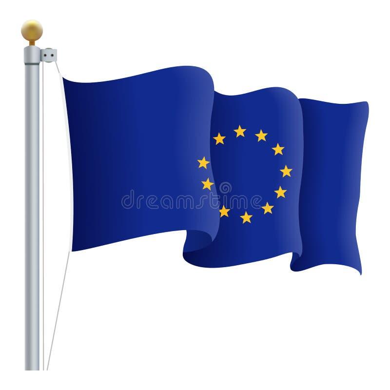Bandera de unión europea que agita La UE señala por medio de una bandera aislado en un fondo blanco Ilustración del vector ilustración del vector